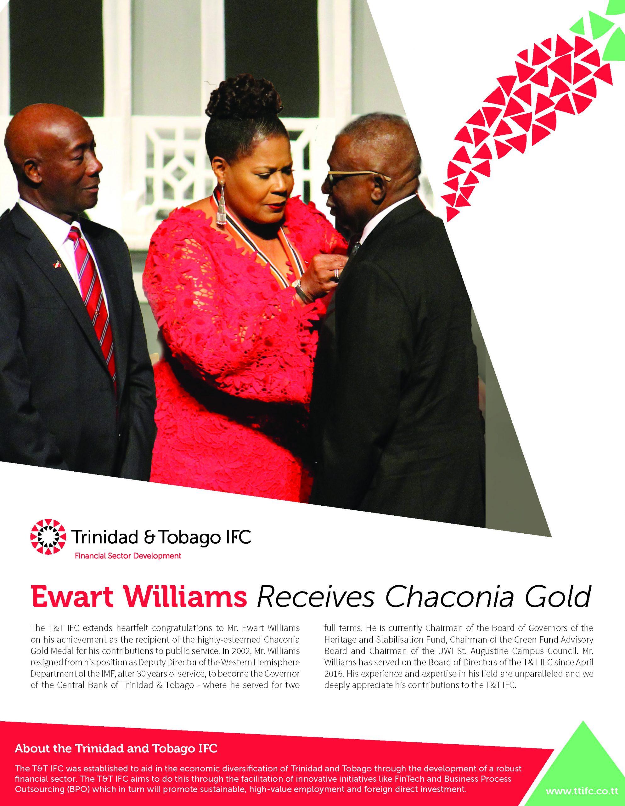 TTIFC's Ewart Williams Receives Chaconia Gold