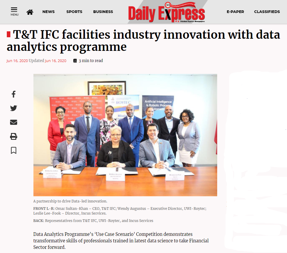 T&T IFC facilities industry innovation with data analytics programme